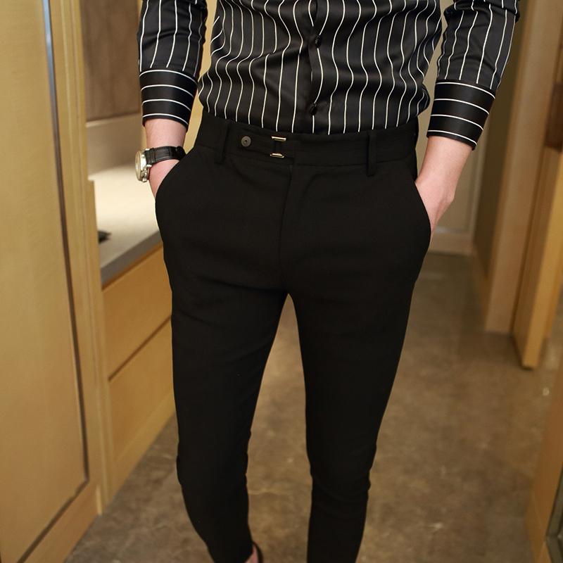 2018春季发型师休闲裤男黑色哈伦裤韩版小脚裤英伦修身弹力男长裤