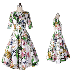 Hepburn old retro Peony prints ship in Europe and America five sleeve boat neck dress with flared skirt