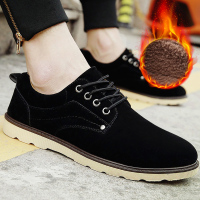 Winter shoes men 's casual shoes plus velvet shoes male Korean version of the trend of the round with large size men' s shoes 45 46 47