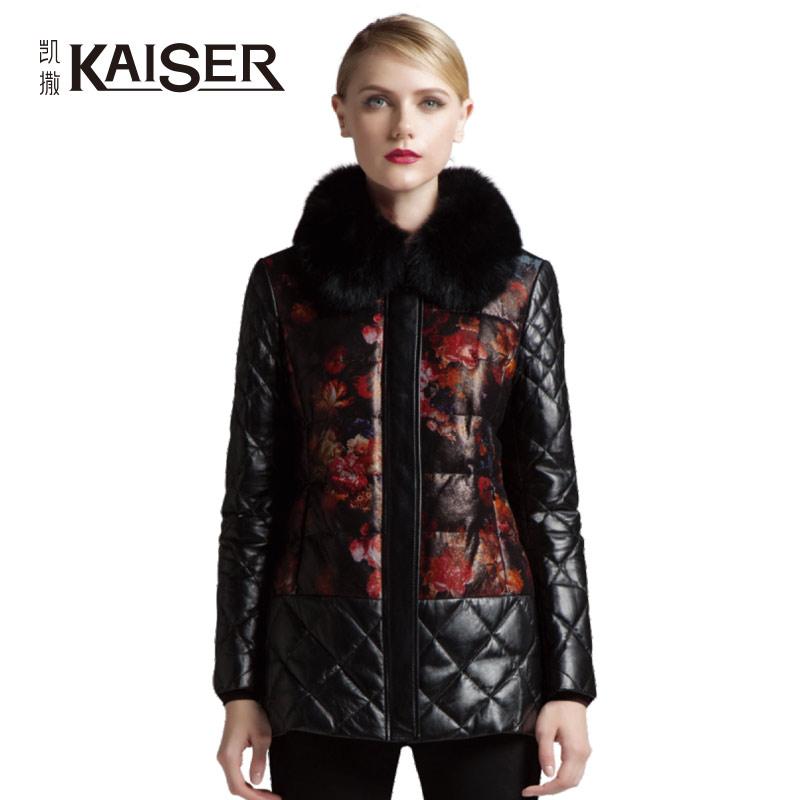 专柜同款 凯撒女装冬季新款印花绵羊皮羽绒皮外套KKWDY14L03