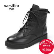 Westlink/West New 2015 winter leather flat-bottom strap zip Brock Martin women short boots shoes