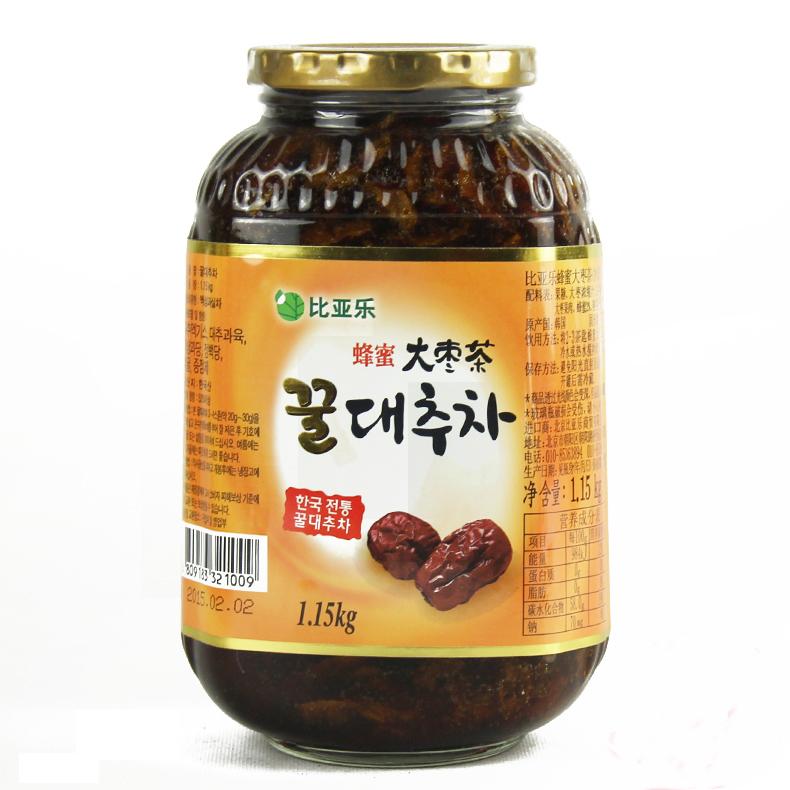 比亚乐柚子茶系列蜂蜜大枣茶茶1150g韩国红枣酱水果果味茶冲饮