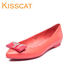 KISSCAT autumn new sweet kissing cat leather rhinestone asakuchi pointed Sheepskin Shoes D44604-06