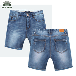三分牛仔短裤男弹力修身宽松直筒韩版休闲沙滩裤马裤五分中裤薄款