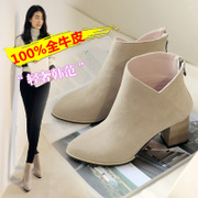 Martin tide girls boots ankle boots UK coarse with high wind with autumn boots pointed toes and nude boots leather short boots women's boots