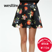 Westlink/West 2015 winter flower printing space in new wave female bust cotton puff skirt dress