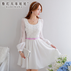 2015 summer dress dress dolls new pink rose flower slim puff long sleeve dress