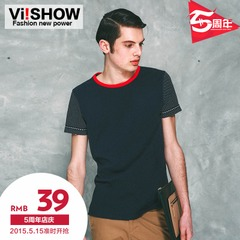 Viishow2015 summer dress new style men's short sleeve t-shirt men short t self t printing Europe surge