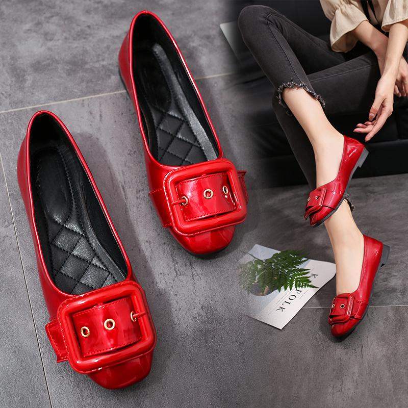 红色浅口平底单鞋孕妇鞋低跟低帮皮带扣工作鞋2017年夏季新款女鞋