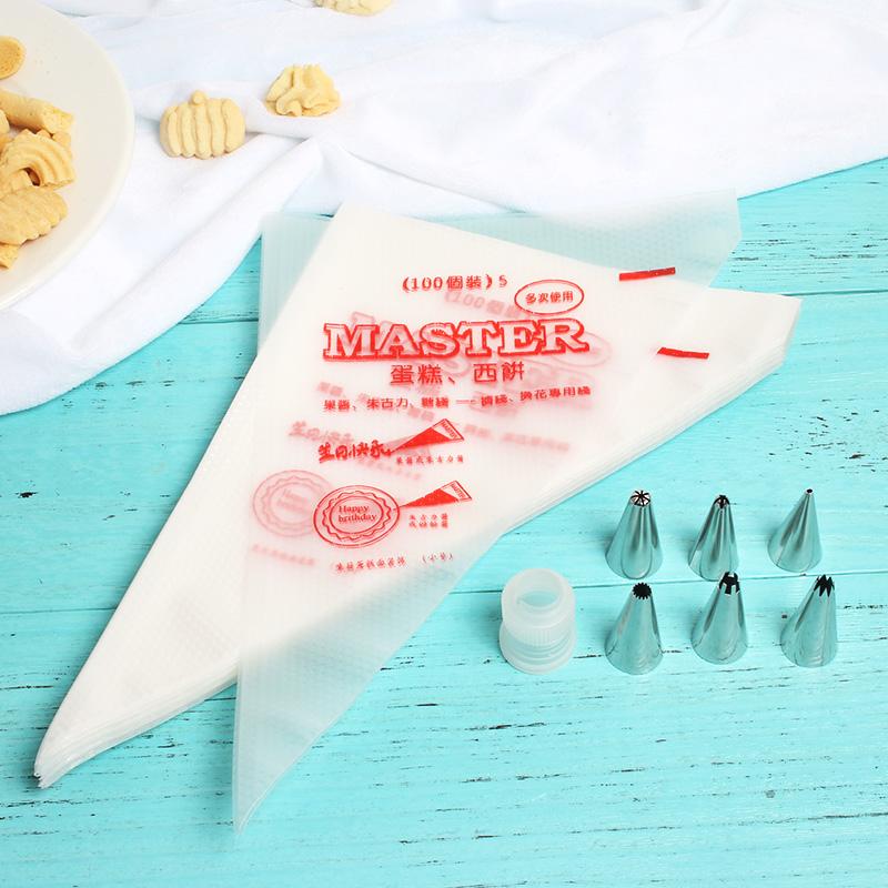 烘焙裱花工具套装 一次性裱花袋+裱花嘴 加厚曲奇奶油蛋糕挤花袋