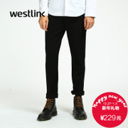 Westlink/West 2015 winter new style minimalistic black business men's casual pants youth black trousers