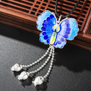 Very Thai 925 Silver cloisonne Japanese and Korean fashion ladies pendant with enamel butterflies tassels pendant new