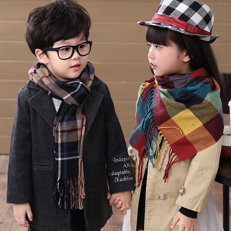 秋冬款韩版潮男童女童围巾围脖儿童宝宝仿羊绒格子纹围巾披肩长款