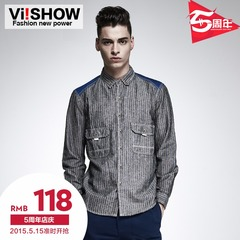 Viishow2015 spring mosaic youth men's casual shirt stripe slim fit cotton long sleeve shirt men