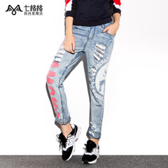Seven space space OTHERCRAZY letter printing wash worn baggy pants light colored jeans women