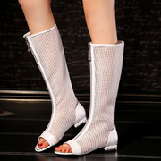 Leather women's summer sandals with cold fish mouth shoes boots white hollow rivet boot net boot Rome Europe