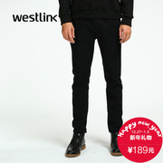 Westlink/West new slim slimming 2015 winter solid colors feet black jeans men pants