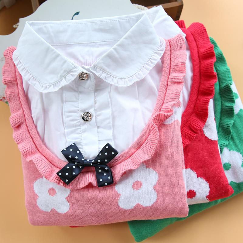 包邮儿童毛衣纯棉中大童假两件衬衫领毛衣女童针织衫春秋款D58