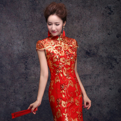 Toast clothing bridal fashion 2015 long tail slim red dress one shoulder wedding dress spring