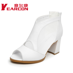 Women's YEARCON/er Kang's 2015 summer styles, leather and elegant female cool chunky heels open-toe shoes