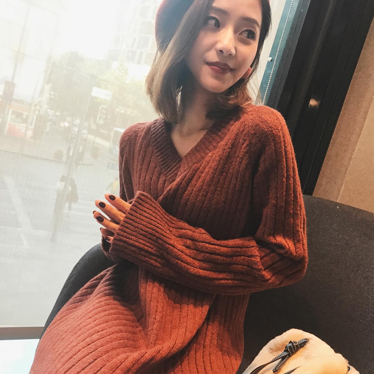 MINI针织连衣裙秋冬女2017新款韩版开叉中长款宽松毛衣针织裙子