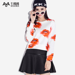 New lip prints seven space space OTHERMIX2015 Spring Street fashion casual Turtleneck t Wei Yinv
