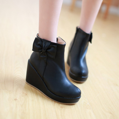 2015 new high heel boots for fall/winter woman for nude Korean sweet bow boots with side zipper student boots