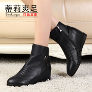 2015 new autumn and winter leather boots fashion Martin temperament increased with pointy ankle boots booties women's shoes