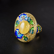 Thai silver cloisonne 925 women''s fashion Wild Honey wax rings gold-plated open ring new