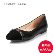 C.BANNER/banner-fall 2015 new Sheepskin/cashmere leather elegant chains flat shoes A5472069