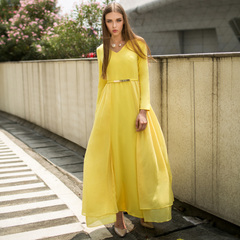 Europe, spring and autumn with elegant chiffon yellow stitching on a big goddess gown v neck long sleeve dress celebrities 9930