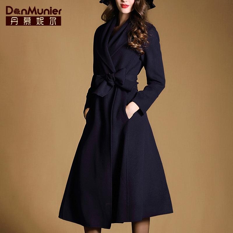 丹慕2015冬装新款大牌风格无扣羊毛大衣女毛呢女神中长款外套3305