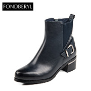 Fondberyl/feibolier 2015 winter leather belt buckle with big booties women's shoes FB54117426