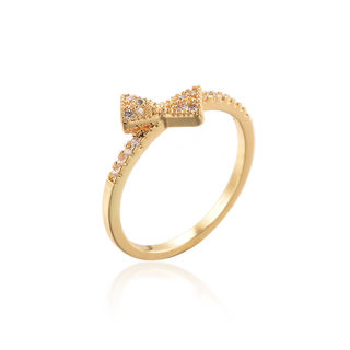 Good Korean fashion ring rhinestone bow ring diamond ring female bow ring