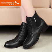 Red Dragonfly new genuine leather women's boots autumn spell color with lacing Martin boots and comfortable shoes