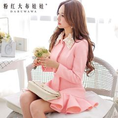 Wool coat women pink doll fall/winter 2014 jewel neckline woolen cloth coat thickness