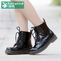 Hot air 2015 round head strap with black patent leather women boots-in-tube Martin boots female British wind 65H5905