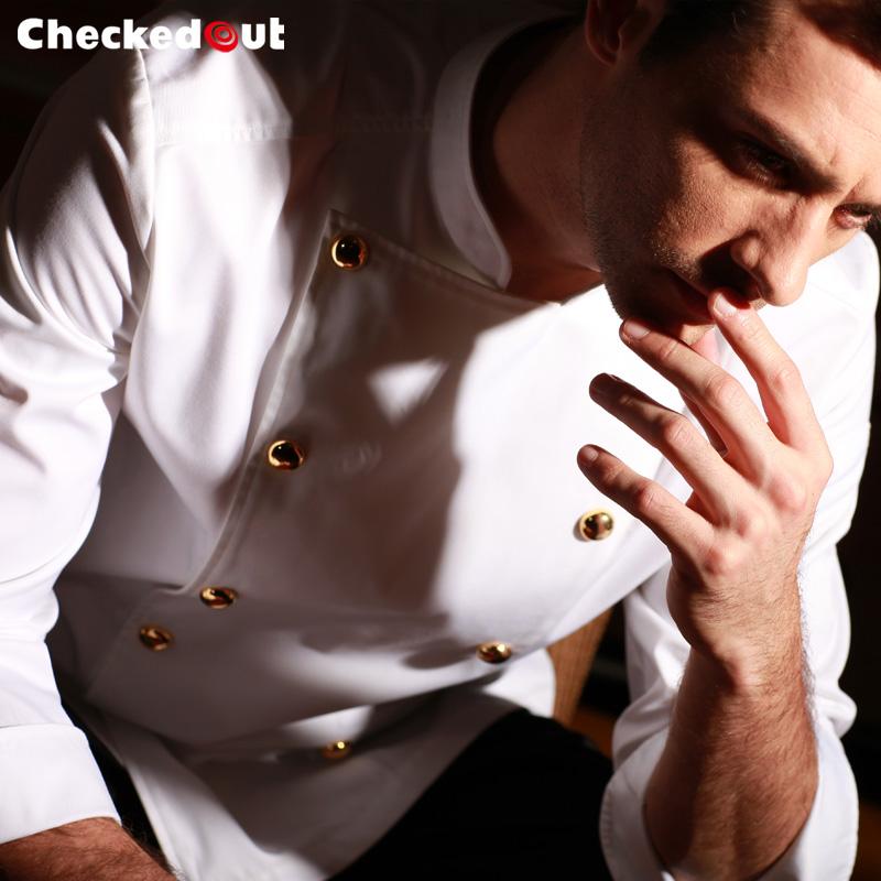 厨师服长袖加厚新秋冬工作服大气厨师长服装后厨餐厅厨师工作服男