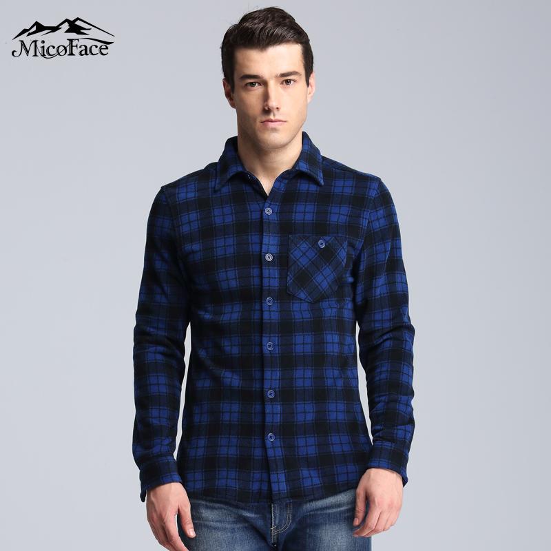 Micoface2017秋季新品男款长袖格子衬衣加厚保暖摇粒绒休闲衬衣
