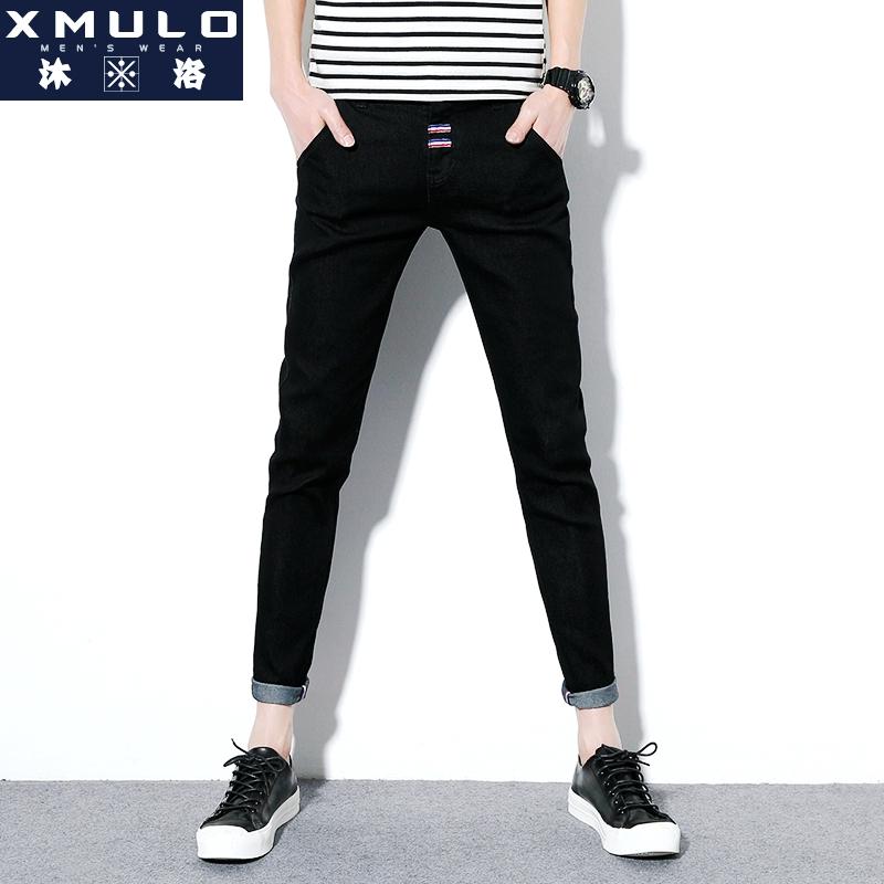 新款秋季加绒牛仔裤男士韩版潮流2017修身九分小脚裤长裤黑色裤子