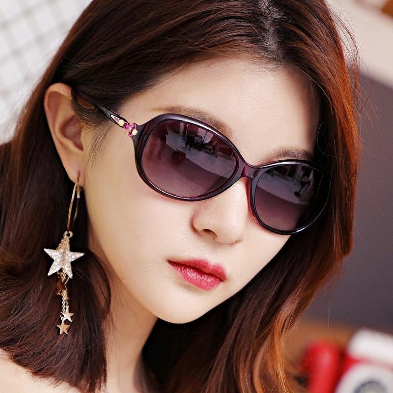 新款 女式 偏光 太阳镜 圆脸 开车 驾驶 优雅 紫外线 墨镜