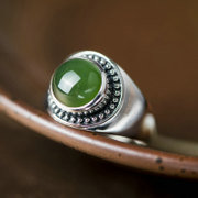 Thai Thai natural Jasper 925 Silver ladies ring in Europe and America index finger silver ring woman