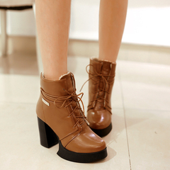 2015 new autumn and winter boots women tie Martin Europe and coarse with thick-soled high heel fashion boots boots boots and bare