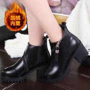 New Europe 2015 winter cashmere women's high heel boots with round head and thick rough with waterproof winter boots women's shoes