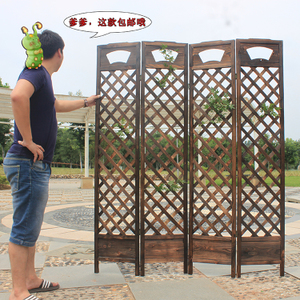 Grid frame wooden fence partition porch flower shelf bedroom fashion foldable residential furniture solid wood carbonized screen