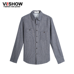 New long sleeve shirt men's spring/summer viishow2015 vertical stripes shirt long sleeve cotton casual shirt