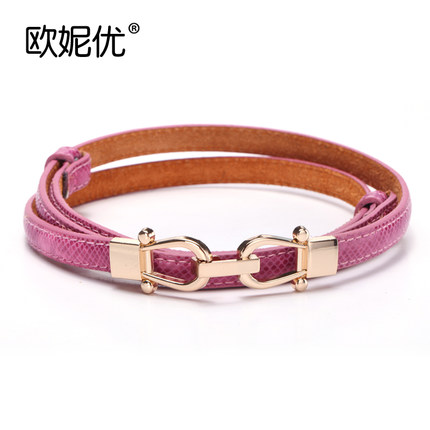 Leoni excellent Crown serpentine fashion womenx26#39;s thin belt buckle decorated Korean wild thin belt womenx26#39;s crony
