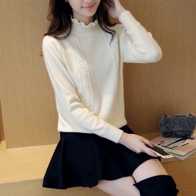 秋冬女装上衣短款白色半高领套头毛衣修身保暖打底衫厚显瘦针织衫