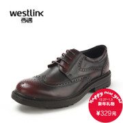 Westlink/Brock West carved new wax brush off leather men's shoes fall business casual shoes
