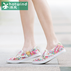 Hot spring shoes canvas shoes floral flat-bottom shoes College wind pedal Lok Fu shoes tide 67H5745